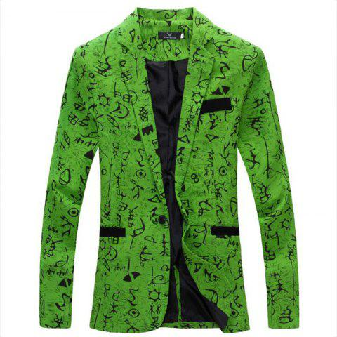 Fashion Men's Casual Blazer Cotton Blend Pattern Blazer Casual Coat