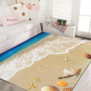 Living Room Floor Mat Delicate Vivid Sea Style Shell Pattern Antiskid Bedside Mat -