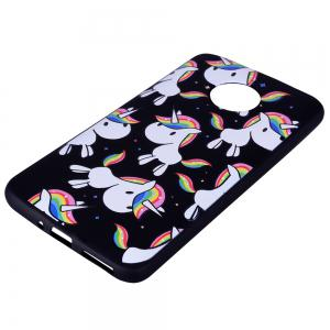 For MOTO E4Plus Rainbow Unicorn TPU Mobile Phone Protection Shell -