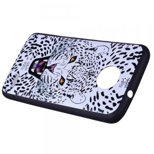 For MOTO E4 White Leopard Design TPU Mobile Phone Protection Shell -