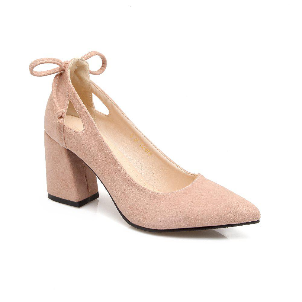 Fashion Pointy Female Thick Heel High Heel Sweet Bowknot Four Seasons Working Women's Shoes