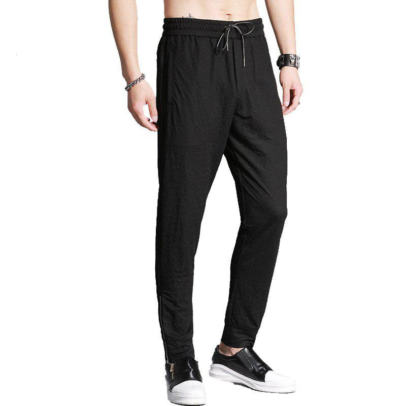 Buy Slim Fit Casual Side Zipper Pants