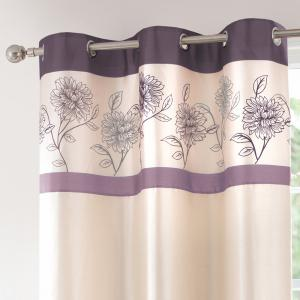 Gyrohome Faux Silk Grommets Top Fully Lined Readymade Flowers  Print Pattern Curtain 1 Panel -