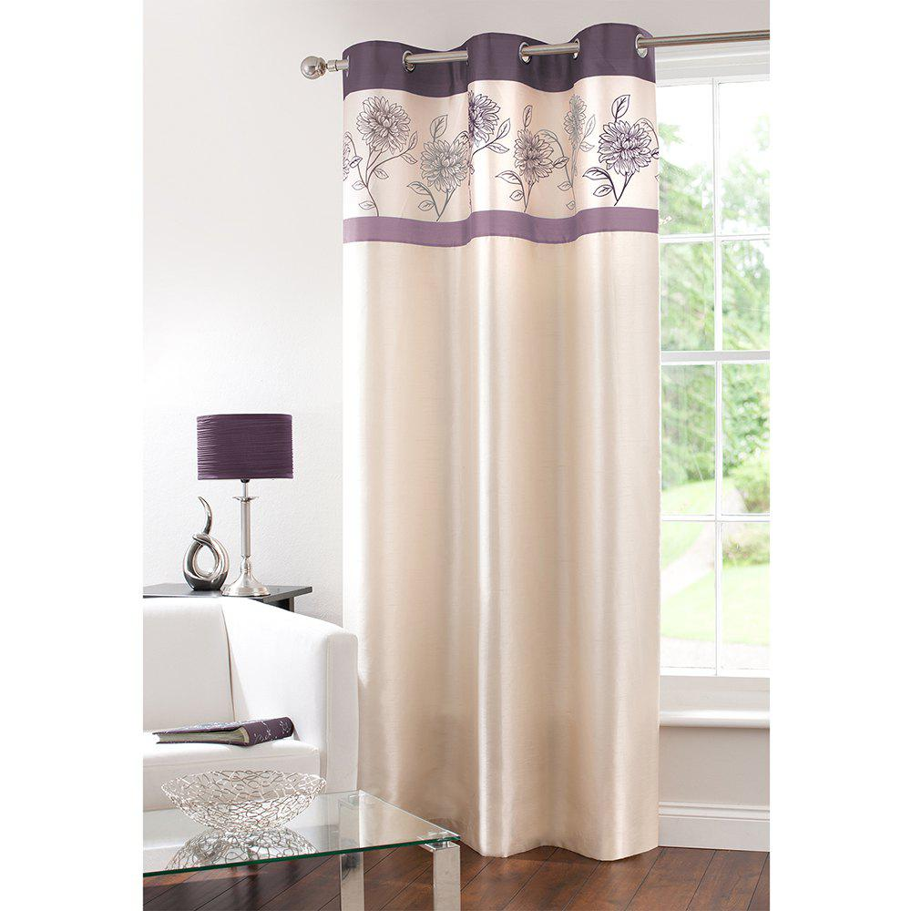 Trendy Gyrohome Faux Silk Grommets Top Fully Lined Readymade Flowers  Print Pattern Curtain 1 Panel