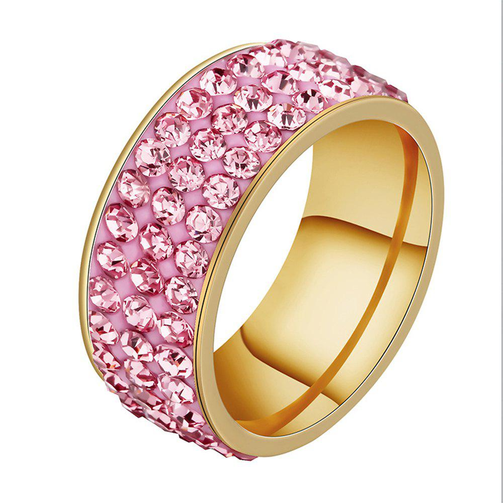 Pink 6 Mud Sticky Men And Women Style Ring Color Three Rows Full Of ...