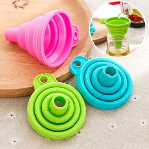 New Mini Silicone Gel Foldable Collapsible Style Funnel Hopper Kitchen Tool -