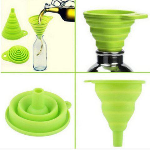 Chic New Mini Silicone Gel Foldable Collapsible Style Funnel Hopper Kitchen Tool