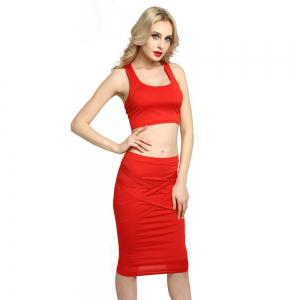 Sexy Women Bodycon Casual Clubwear Party Crop Top and Wrap Skirt Set -