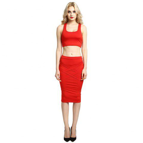 Affordable Sexy Women Bodycon Casual Clubwear Party Crop Top and Wrap Skirt Set