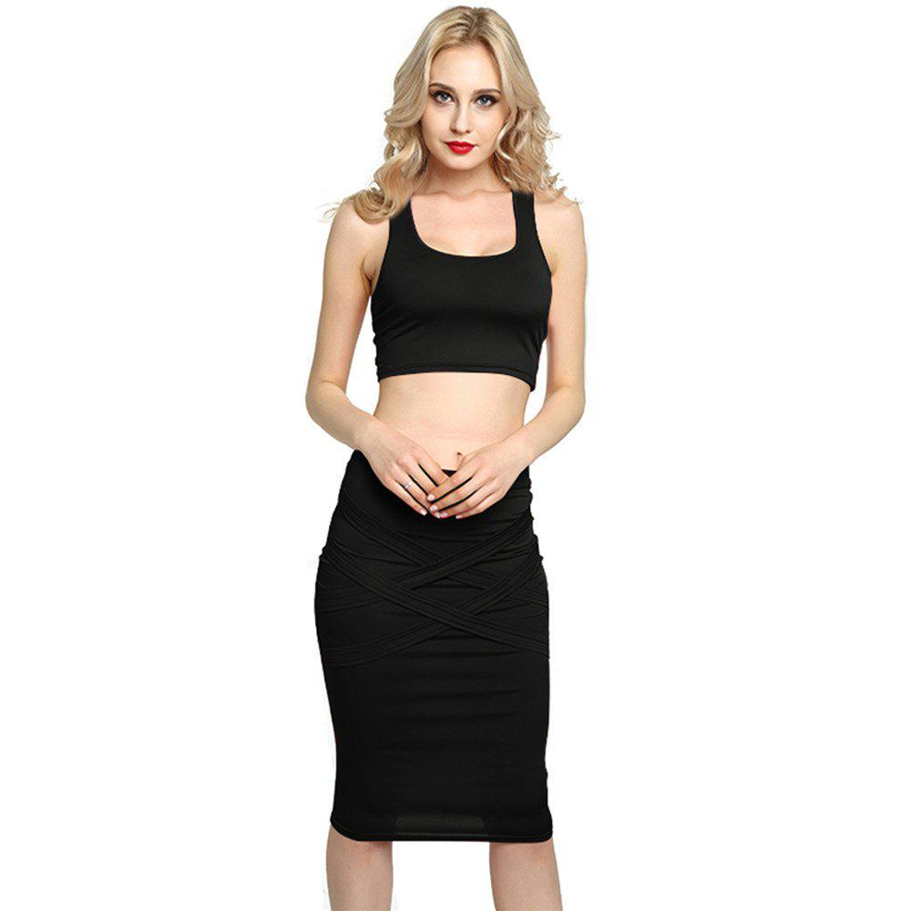 Latest Sexy Women Bodycon Casual Clubwear Party Crop Top and Wrap Skirt Set