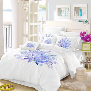Embroidered Leaf Petals Color Painting Series Three Pieces of Bedding Set -