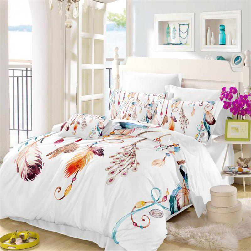 Fancy Feather Painting Series Embroidery Tribal Designs Three Piece Bedding Set Feather Necklace AS13