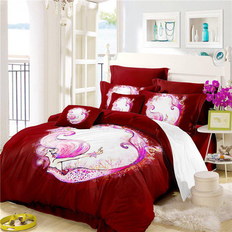Outfit Embroidered Marine Mermaid Series Three or Four Pieces Bedding Set