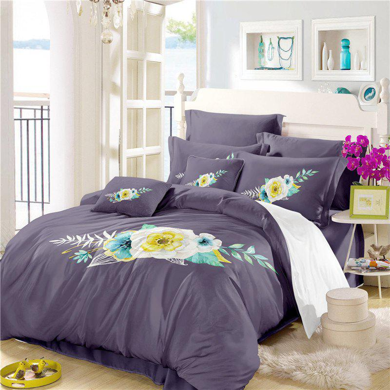 Discount Embroidered Leaf Petals Color Painting Series Three Pieces of Bedding SK06