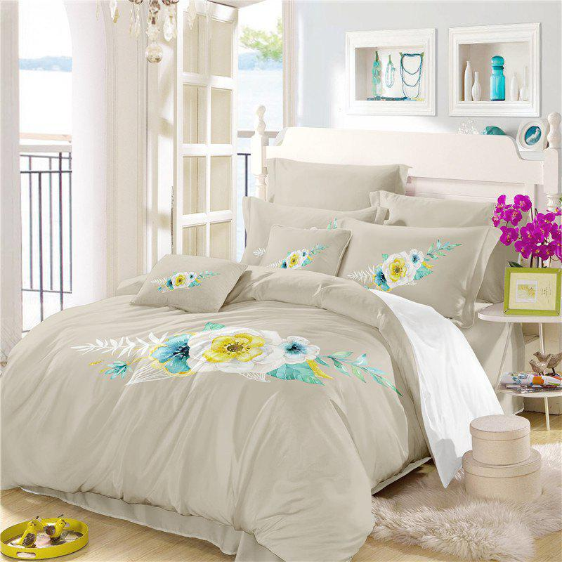 Chic Embroidered Leaf Petals Color Painting Series Three Pieces of Bedding SK06