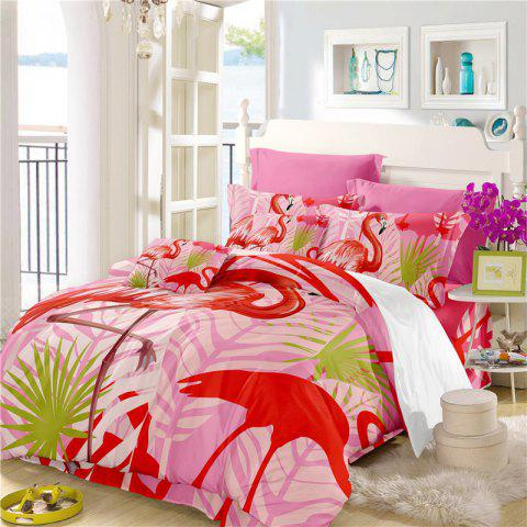 Fashion Embroidered Leaf Flamingo Series Bedding Three or Four Pieces Bedding Sets AS15
