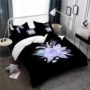 Embroidered Leaf Petals Color Painting Series Three Pieces of Bedding Set Saussurea Sk01 -
