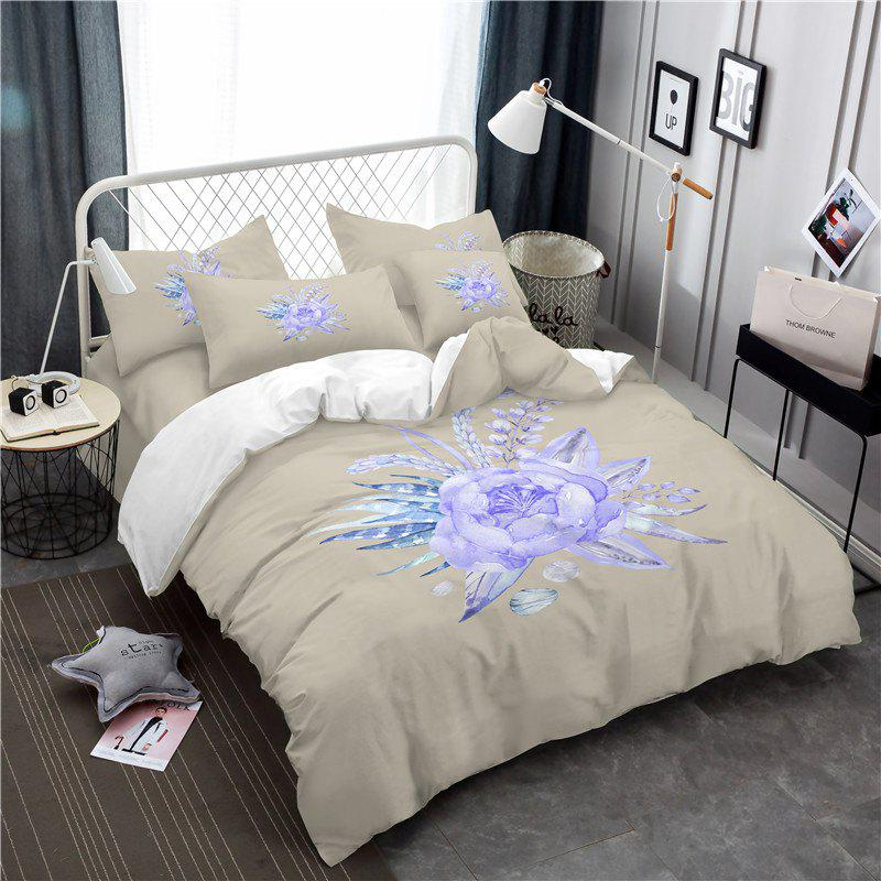 Discount Embroidered Leaf Petals Color Painting Series Three Pieces of Bedding Saussurea Sk01
