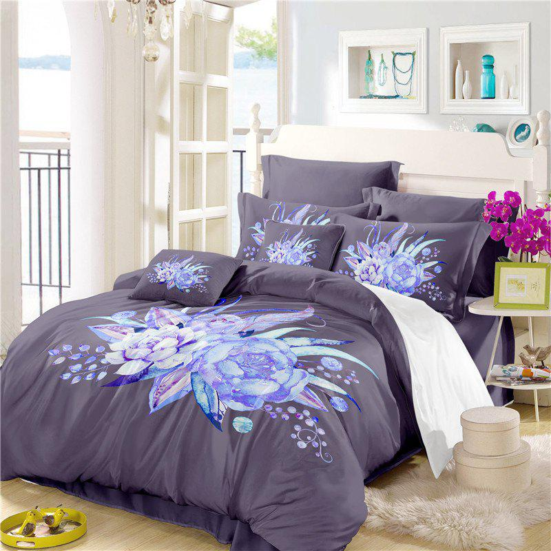 Trendy Embroidered Leaf Petals Color Painting Series Three Pieces of Beddin