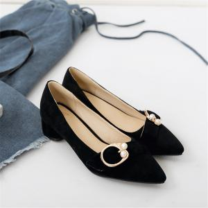 Pointed Thick and Shallow Single Shoes -