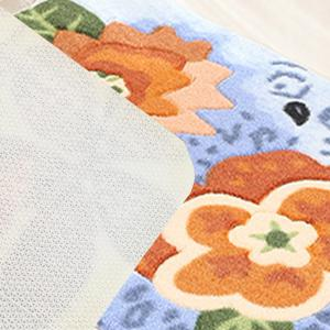 Floor Mat Vivid Two Flowers Pattern Soft Home Decorative Rug -
