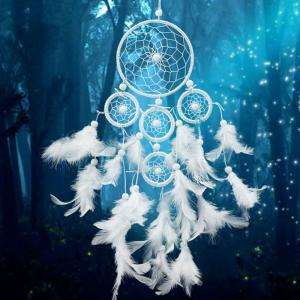 White Wind Chimes Indian Style pearl Feather Pendant Dream Catcher Gift -