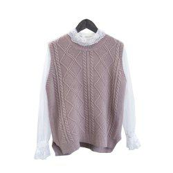Bud Silk Garment V-neck Wool Knit Vest Two suits -