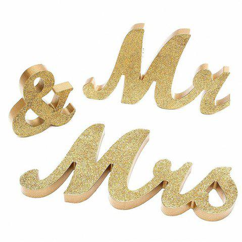 Store 170717Party MRMRS Gold Glitter Letters Wooden Props Home Furnishing Decorative Ornaments 1SET