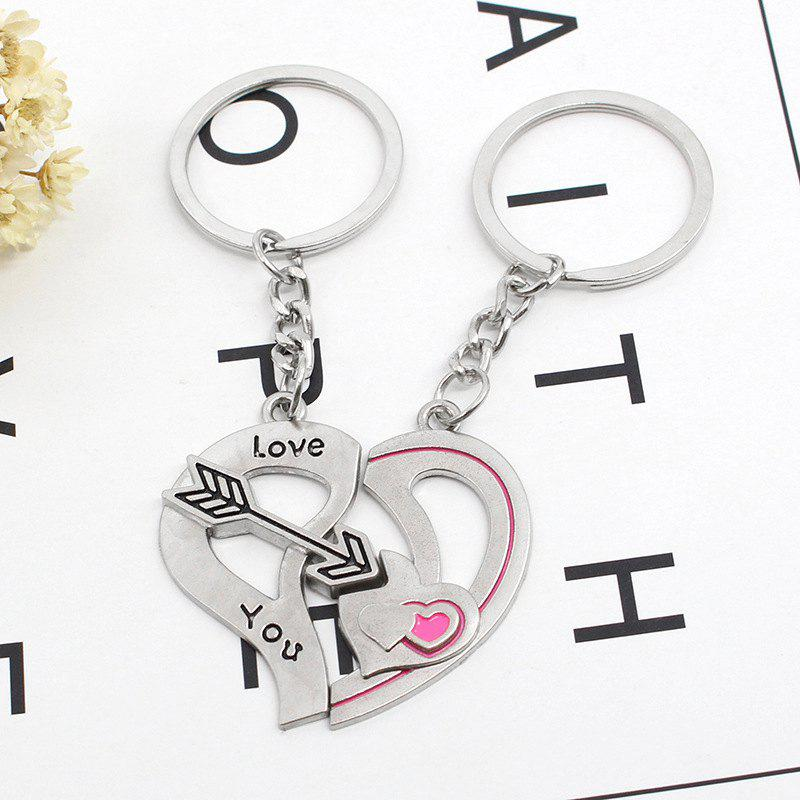 Online Arrow Heart Style Decoration Metal Key Chain 2PCS