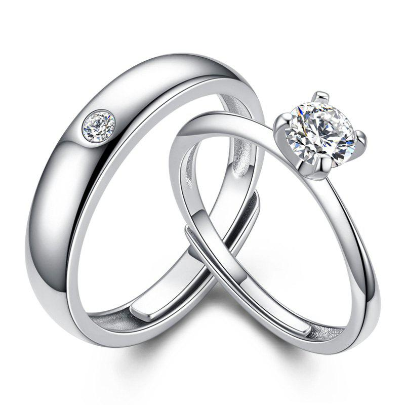 1 Pairs of Lovers' Silver Ring Adjustable0131