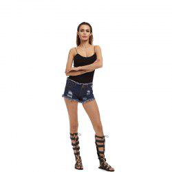 Burr Hole Jeans Shorts -