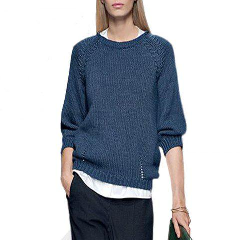 Discount Round Collar Loose Knitting Sweater