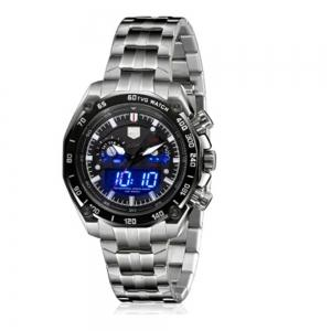 TVG Km-3168 1323 Fashionable Outdoor Sports Night Light Shows The Steel Band with Cool Electronic Quartz Watch -