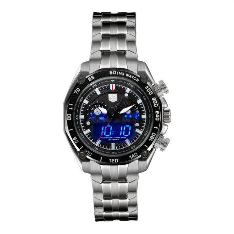 Latest TVG Km-3168 1323 Fashionable Outdoor Sports Night Light Shows The Steel Band with Cool Electronic Quartz Watch