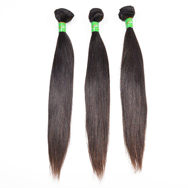 Outfits 3pcs Brazilian Straight Unprocessed Real Human Hair Extensions Natural Black Color 12 14 16 inch
