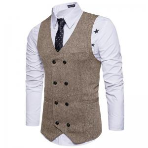 Men's Waistcoat V Neck Business Casual Double Breasted Regular Fit Tuxedo Vest -