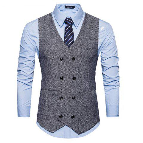 Sale Men's Waistcoat V Neck Business Casual Double Breasted Regular Fit Tuxedo Vest
