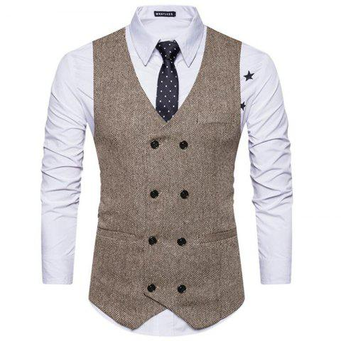 Affordable Men's Waistcoat V Neck Business Casual Double Breasted Regular Fit Tuxedo Vest