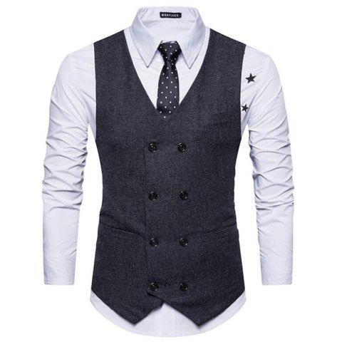 Fancy Men's Waistcoat V Neck Business Casual Double Breasted Regular Fit Tuxedo Vest