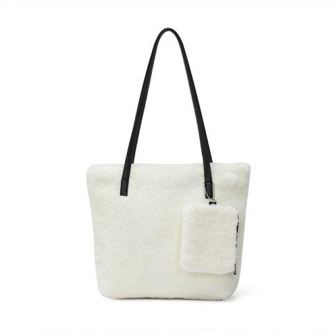 Fancy Two-piece Female Plush Shoulder Bag Handbag