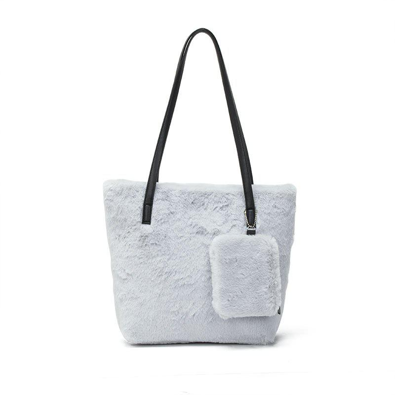 Latest Two-piece Female Plush Shoulder Bag Handbag