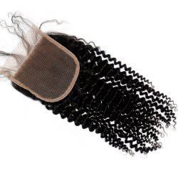 Kinky Curl 100 Percent Natural Color Brazilian Human Hair Lace Closure 1pc -