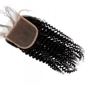 Kinky Curl 100 Percent Natural Color Brazilian Human Virgin Hair Lace Closure 2pcs -