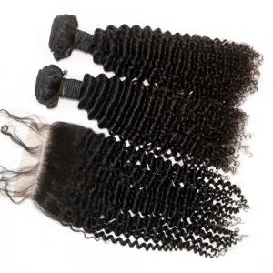 Kinky Curl 100 Percent Brazilian Human Virgin Hair Weave 4pcs with 1pc Lace Closure -