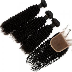 Kinky Curl 100 Percent Brazilian Virgin Hair Weave 3pcs with 1pc Lace Closure -