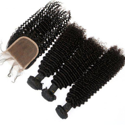 Hot Kinky Curl 100 Percent Brazilian Virgin Hair Weave 3pcs with 1pc Lace Closure