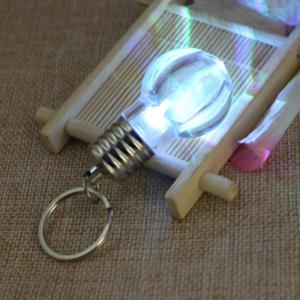 5Pcs Luminous  Plastic Bulb Shaped  Ring Mini Spiral Bulb Keychain -
