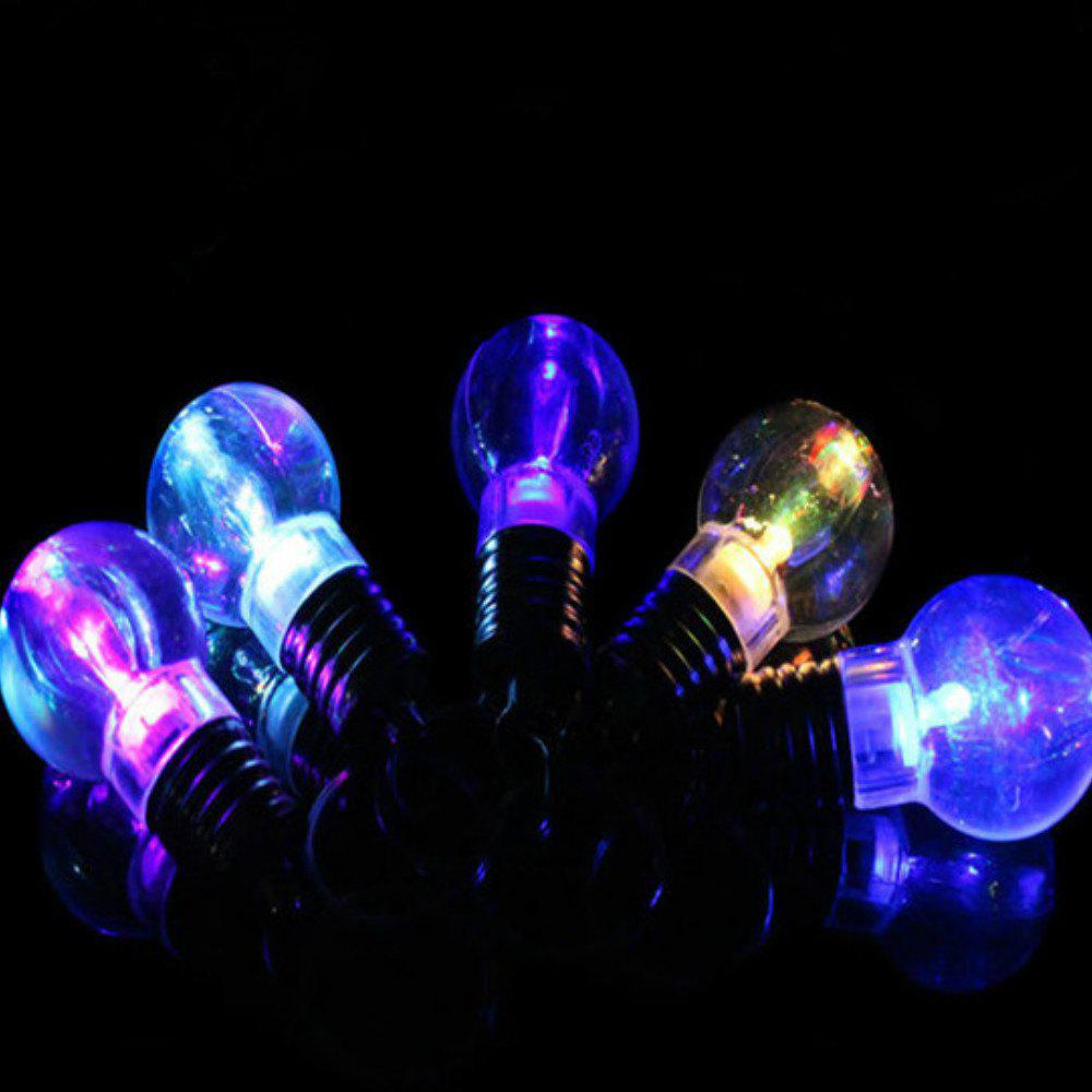 Best 5Pcs Luminous  Plastic Bulb Shaped  Ring Mini Spiral Bulb Keychain