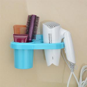 Bath Tool Carrier Strong Suction Dish On-Wall Storage Box Hairdryer Holder -