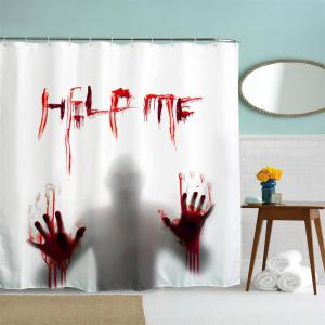 Help Me Polyester Shower Curtain Bathroom  High Definition 3D Printing Water-Proof -